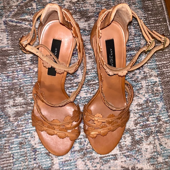 873275a4f Ann Taylor Shoes | Strappy Cognac Cut Out Leather Sandals | Poshmark